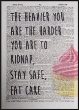 Cake Quote Vintage Dictionary Page Wall Art Picture Funny Diet Cafe Coffee Shop