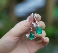 Vintage 2.80Ct Emerald & Diamond 18k White Gold Finish Women Drop Dangle Earring