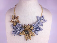 Statement Necklace Gold Silver Daisy Fabric Flower Upcycle Handmade Crystal Bead