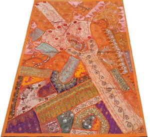 Tenture indienne orange Dessus de table Tapis mural Patchwork fait main Inde L1