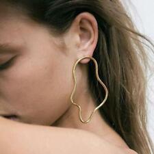 Fashion Rock Chick Chic Jewellery Gift Uk Boho Wave Hoop Statement Earrings Gold