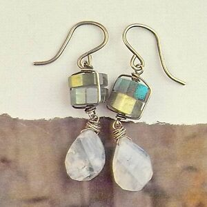 Super Flash LABRADORITE & Faceted Hand Cut MOONSTONE Earrings Artisan Sterling S