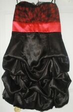 NWT A Byer Juniors Red Blk Satin Lace Prom Cocktail Party Strpls Bubble Dress 3