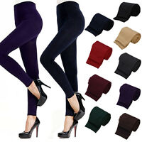 LADY WOMEN WINTER WARM SKINNY SLIM STRETCH PANTS THICK FOOTLESS TIGHTS EARNEST