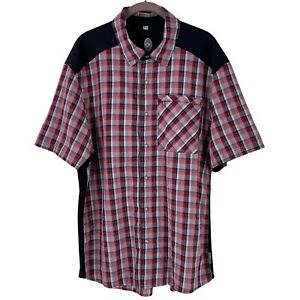 CLUB RIDE Red Black Plaid Cycling Shirt Size Large Snap Front Short Sleeve