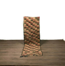Moroccan Checkered Rug Berber Azilal Handmade Boucherouite Wool Hallway Area