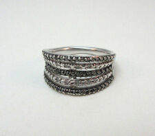 STERLING SILVER BLACK & WHITE DIAMOND RING W/ SUN HALLMARK SIZE 6.75  ***