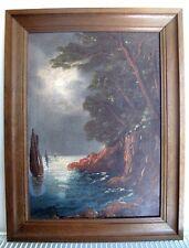 HST Tableau marine 1912 A identifier Peinture bord de mer Cote méditérranéen