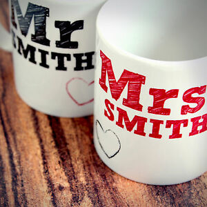 Personalised Mr and Mrs Mug Gift Set - For Newlyweds, Couples, Wedding Day Gifts