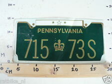 STICKER,DECAL NUMBERPLATE PENNSYLVANIA 715-73S IS DAMAGED LARGE CAR
