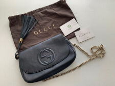 Gucci Soho Flap Interlock GG  Crossbody Chain Bag - Black ( Noir)