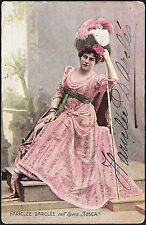 HARICLEE DARCLEE as FLORIA in TOSCA - Original HANDSIGNED Colored Postcard 1903
