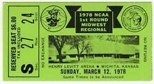 1978 NCAA BASKETBALL Tournament TICKET Wichita Kansas LEVITT ARENA Notre Dame