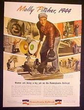 1944 WWII Pennsylvania Railroad~Train Molly Pitcher 10.5 x 14 LG~Size War Art Ad