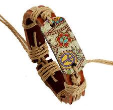Wholesale 12pcs Handmade Leather Accessories Alloy Color PEACE Bracelet for Gift