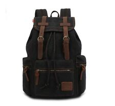 KINGLAKE Vintage Unisex Canvas Leather Backpack Rucksack Satchel Hiking Navy