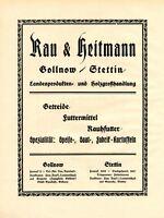 Getreide Rau & Heitmann Gollnow XL Reklame 1924 Stettin Goleniow Werbung