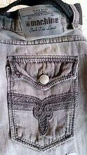 Mens Machine Grey Distressed Boot Cut Jeans Embellished Pocket + Woven Belt -503