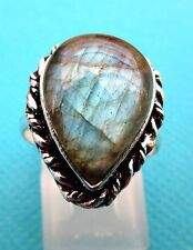 925 Sterling Silver Ring With Natural Labradorite Size O 1/2, US 7.25  (rg2515)