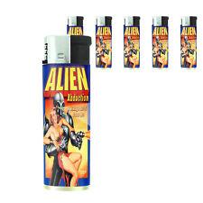 Vintage Alien Abduction D1 Lighters Set of 5 Electronic Refillable Butane