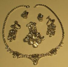 two pairs of matching Ear-rings Vintage Sparkly Necklace, Broach and