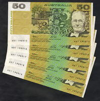 Australia R-513a. (1991) 50 Dollars - Fraser/Cole. aU-UNC - CONSECUTIVE run of 5