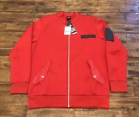 Adidas Men's Scarlet Red Dame Core Bomber Embossed Jacket Size L AO1644