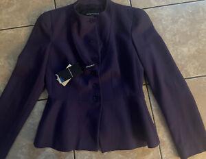 NWT $780 Emporio Armani 12 (8-10 US) Structured Blazer Jacket Virgin Wool Purple