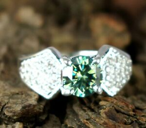 3.68 Ct  Certified  Green Diamond Solitaire Men's Engagement Ring With Accents