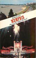 Memphis Tennessee~Cotton Carnival Fireworks~Riverside Dr~1950s Postcard