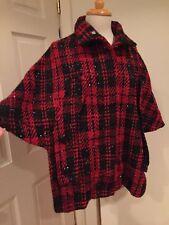 Free Lance Poncho Cape Coat Jacket Warm Black Red M