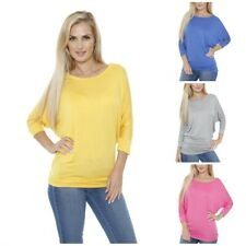 White Mark Casual Long Sleeve Solid Colored Banded Dolman Top For Women