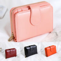Womens Waxed Leather Short Wallet Small Lady Purses Card Holder With Zipper OW