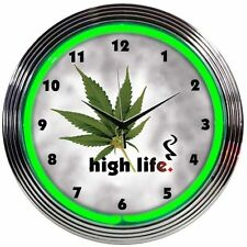 High Life Neon Pot Leaf Wall Clock Marijuana Neonetics