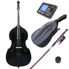 Cecilio Size 4/4 Black Acoustic Upright Double Bass +Case+Bow ~4/4CDB-BK