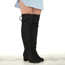 Womens Over The Knee High Stretch Leg Ladies Block Heel Lace up Long BOOTS UK 3 / EU 36 / US 5 Black Faux Suede