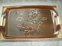 "Chrysanthemum Faux Wood Tray 16 3/4"" x 10"" Wrapped Handles Made in Japan NIB"