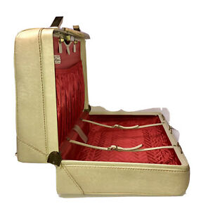 """VTG Olympic Luggage Corp Kane PA Cream Tolex Suitcase Red Interior 18x13x8"""""""