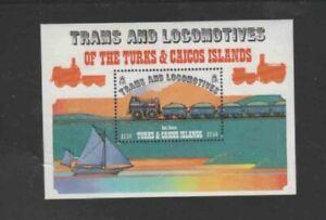 TURKS & CAICOS ISLANDS #554 1983 LOCOMOTIVES MINT VF NH O.G S/S
