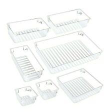 7 Pcs Clear Desk Drawer Organizer Trays, 4-Size Versatile Plastic Storage Bins
