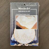 """*NEW* WonderArt """"Fleur De Lis"""" Dresser Scarf Stamped Cross Stitch Kit, 15"""" x 42"""""""