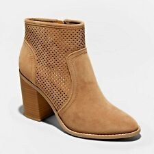 Universal Thread Women's Crissy Taupe Microsuede Laser Cut Heel Bootie 9 NWT