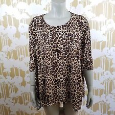 CHICO'S PLUS SIZE XL LEOPARD PRINT SHORT SLEEVE BLOUSE HI LOW CAREER STRETCHY