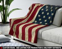 "50""x60"" THROW BLANKET - USA #1 American Flag Stars Stripes Red White Blue Gift"
