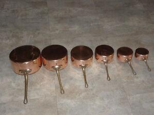 VINTAGE COPPER brass SET 6 SAUCEPANS PANS vesoul french saute old pots Stamped
