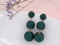 Earrings Nails Golden Three Pearl Thread Cotton Green Craft