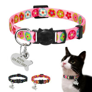 Personalized Breakaway Cat Collar & Name ID Tag Quick Release for Puppy Kitten