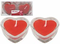 HEART SHAPED RED CANDLES Valentines Day Gift I Love You Candle GLASS