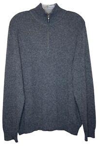 John Nordstrom mens large sweater 100% cashmere gray mock neck 1/4 zip