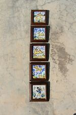 Mid-Century Set of Five Spanish Granada Framed Tiles depicting a Dog, Rabbit...